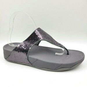 FitFlop Electra Gray Sequins Thong Comfort Sandals